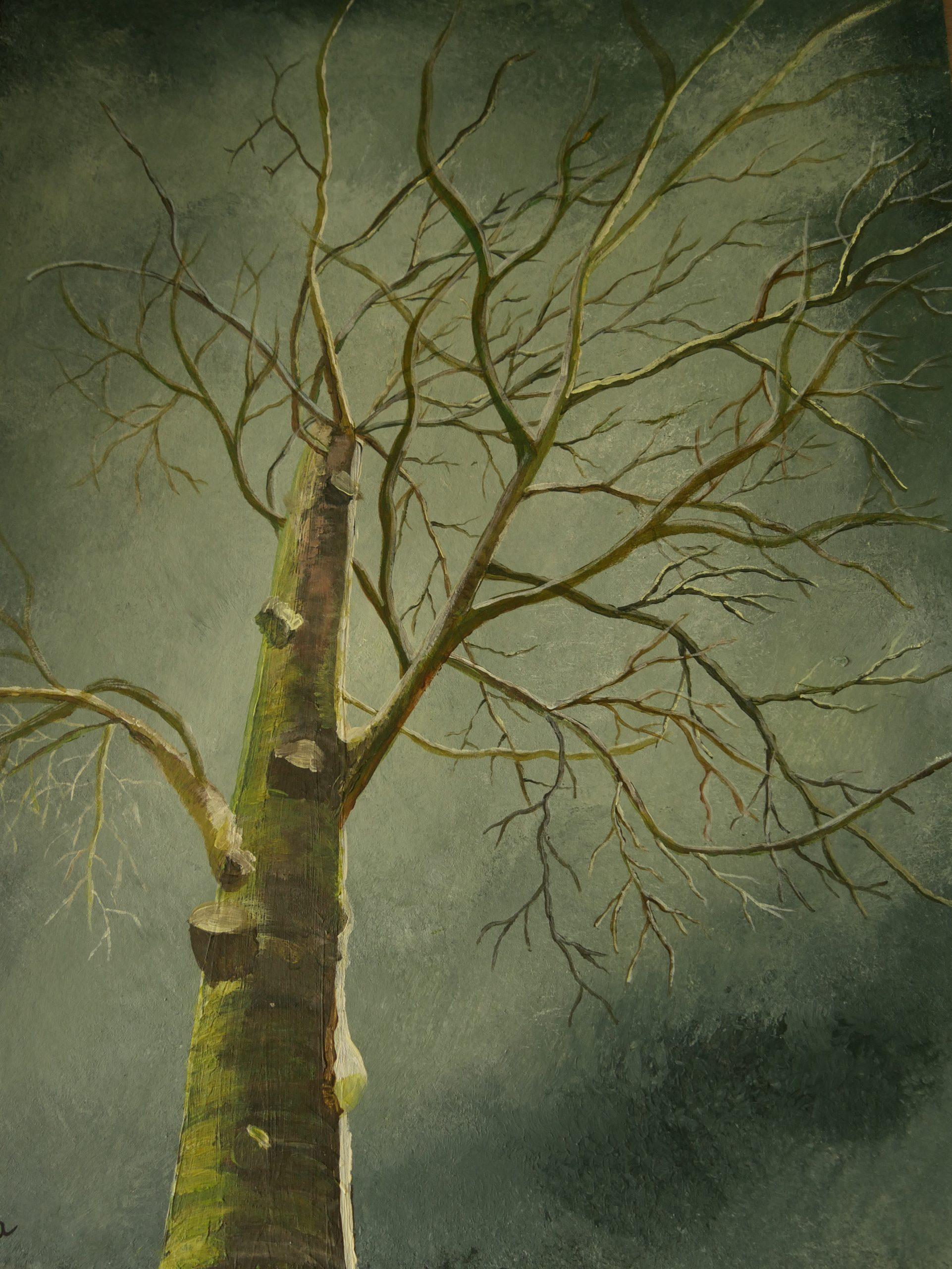 boom, eenzaam, schilderij